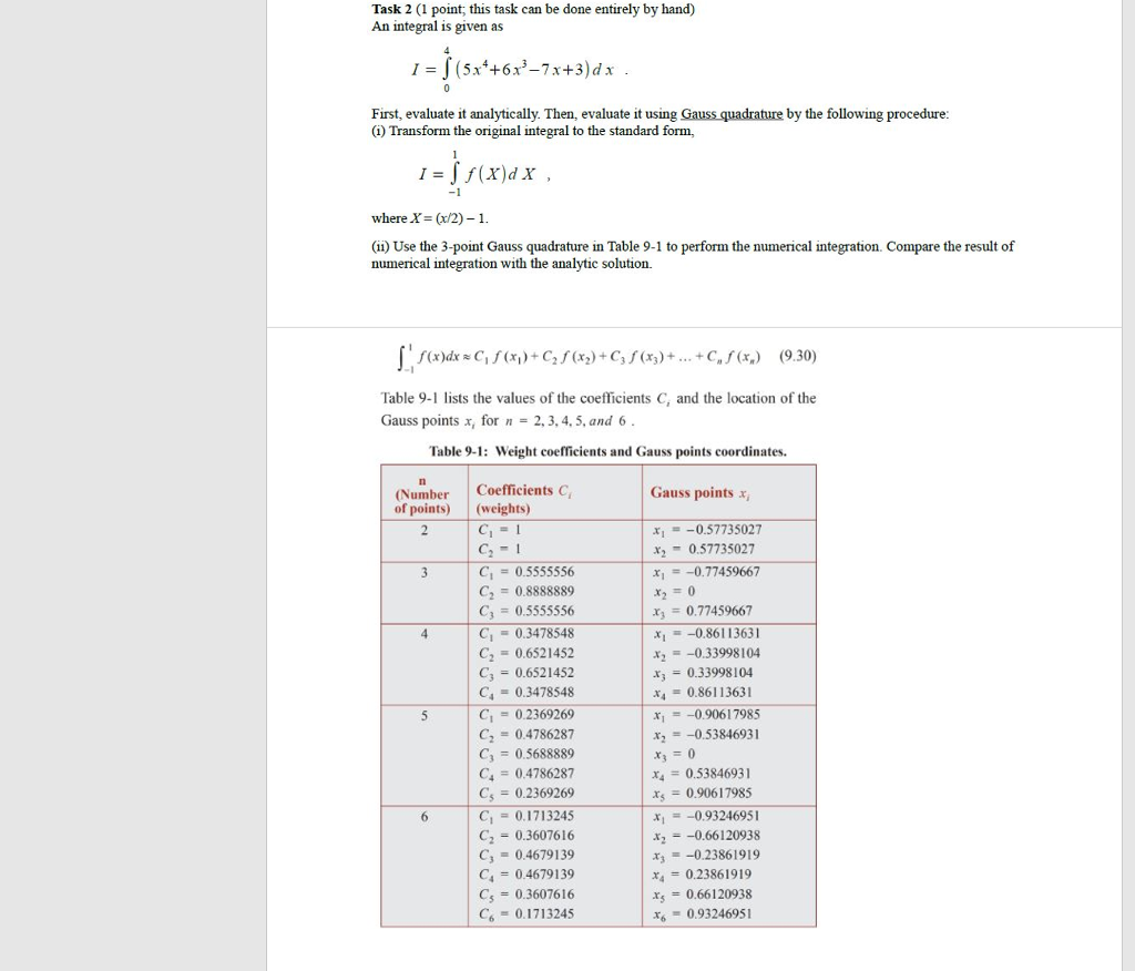 Solved task 2 1 point this task can be done entirely by question task 2 1 point this task can be done entirely by hand an integral is given as 5x6x3 7x3dx falaconquin