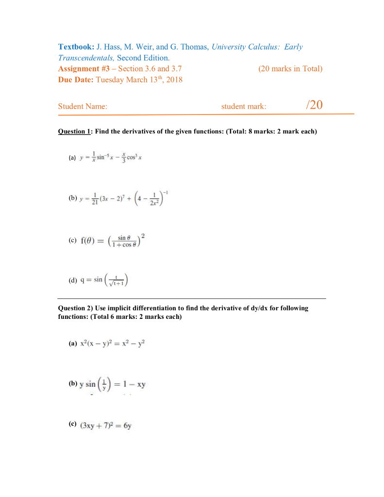 Question: Textbook: J. Hass, M. Weir, and G. Thomas, University Calculus: Early  Transcendentals, Second Edi.