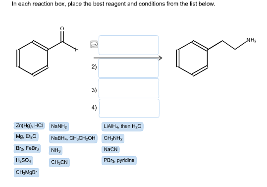 in each reaction box place the best reagent and conditions from the list below oh - photo #26