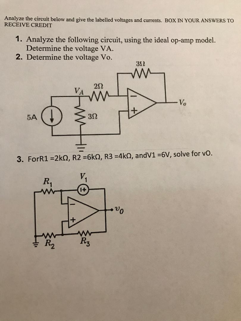 Microsoft Word Credit Reference Template%0A Analyze the circuit below and give the labelled voltages and currents  BOX  IN YOUR ANSWERS