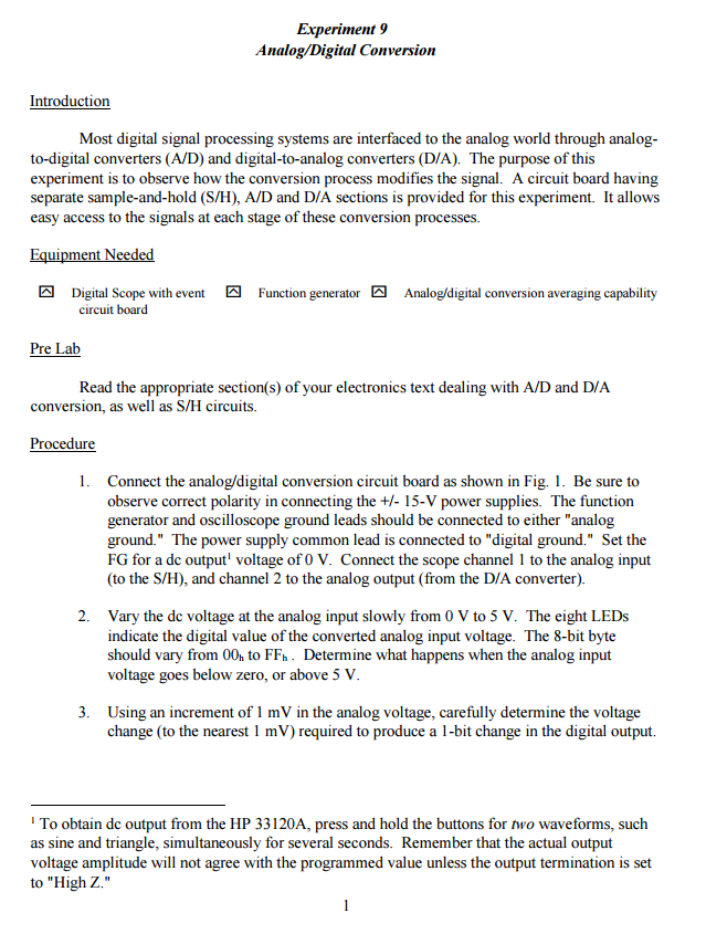 Solved: Experiment 9 Analog/Digital Conversion Introductio