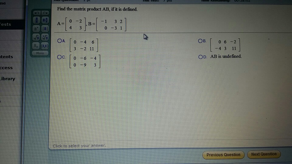 Image for Find the matrix product AB, if it is defined.