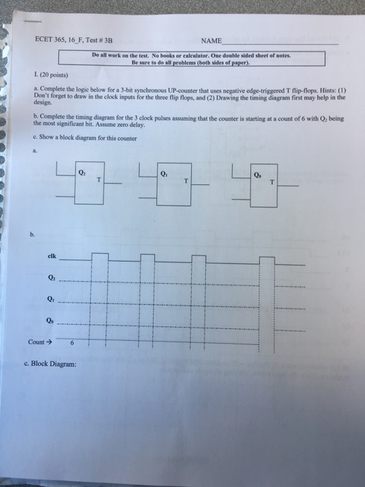 Solved: Complete The Logic Below For A 3-bit Synchronous U ...