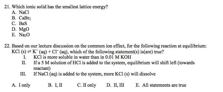 Solved: 21. Which Ionic Solid Has The Smallest Lattice Ene ...