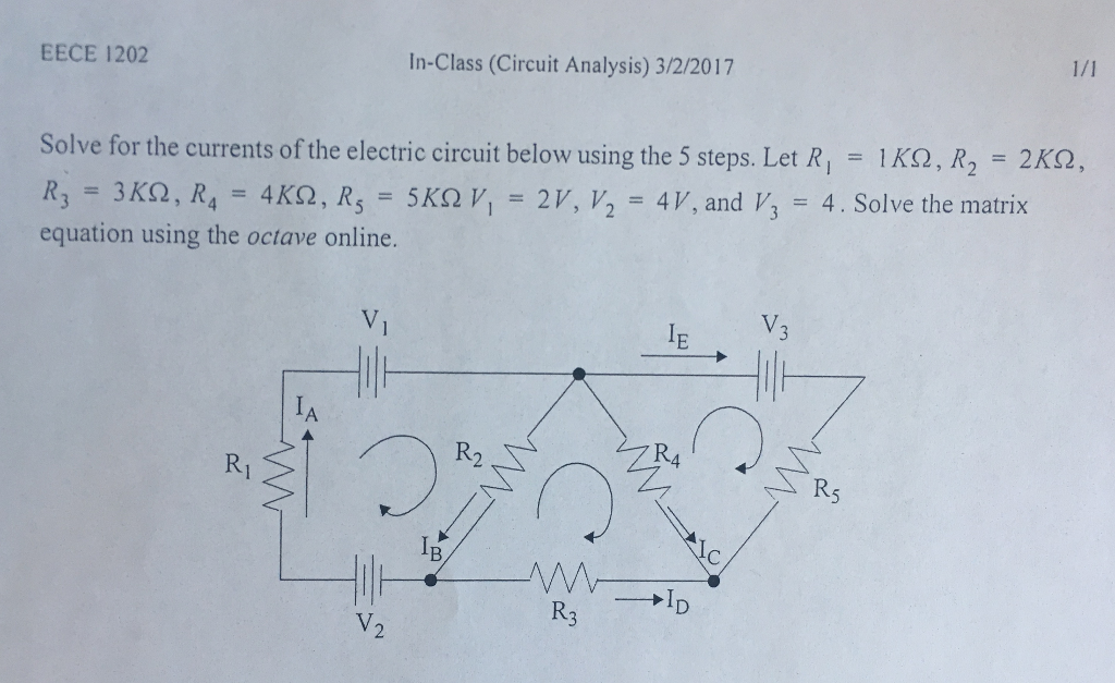 Solved: Solve For The Currents Of The Electric Circuit Bel ...