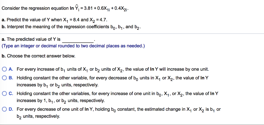 Solved: Consider The Regression Equation In Y_1 = 3.81 + 0 ...
