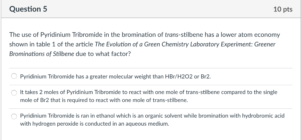 bromination of trans stilbene with hydrogen peroxide and hydrobromic acid