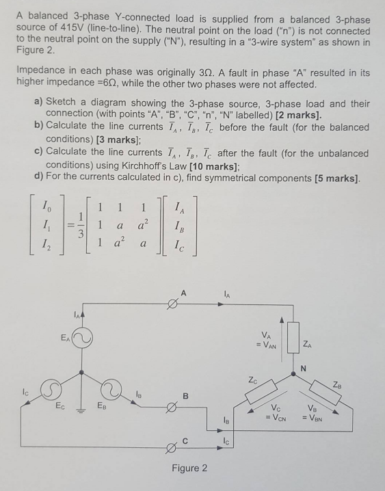 Solved: A Balanced 3-phase Y-connected Load Is Supplied Fr ... on side load and line diagram, line output converter wiring diagram, manual transfer switch diagram, 3 line diagram, hose diagram, line load neutral, one-line diagram, single-line diagram, line voltage thermostat wiring diagram 4 wire,