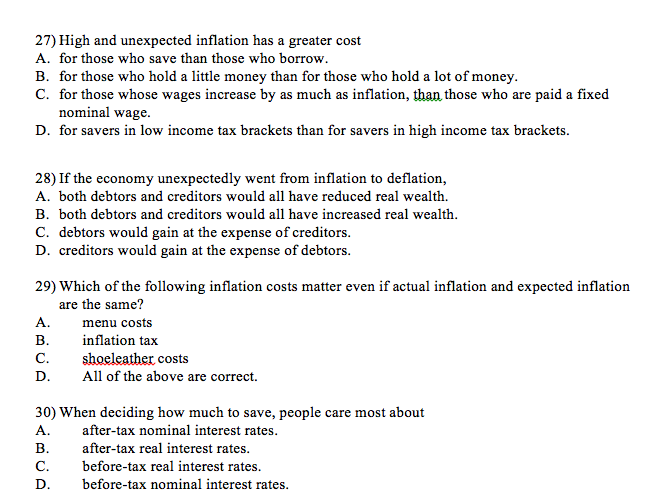 unexpected inflation When unexpected inflation occurs, some people in society are harmed while other people are made better off use the descriptions below to determine if they have benefited (\winners\) or have been harmed (\losers\) by unexpected inflation.