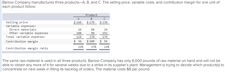 Accounting archive december 08 2017 chegg barlow company manufactures three products a b and c the selling price fandeluxe Image collections