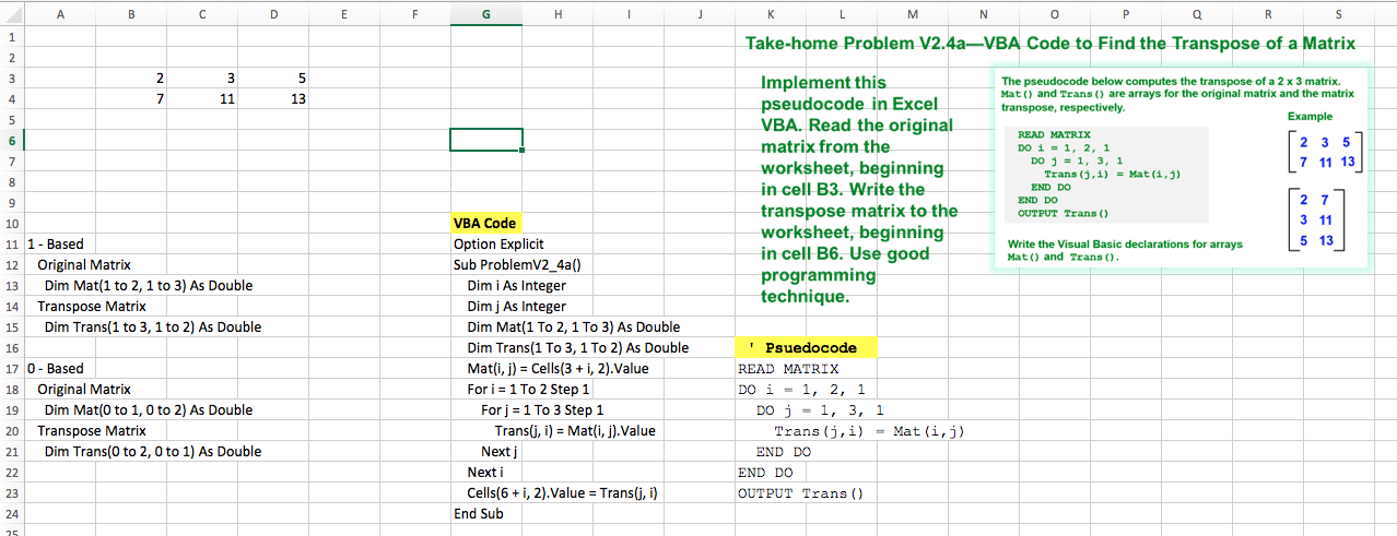 How Would I Write The Excel VBA Code For This Matr ...