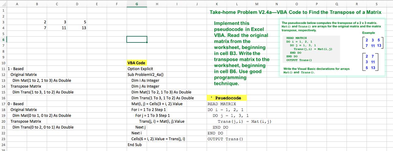 How Would I Write The Excel VBA Code For This Matr... | Chegg.com