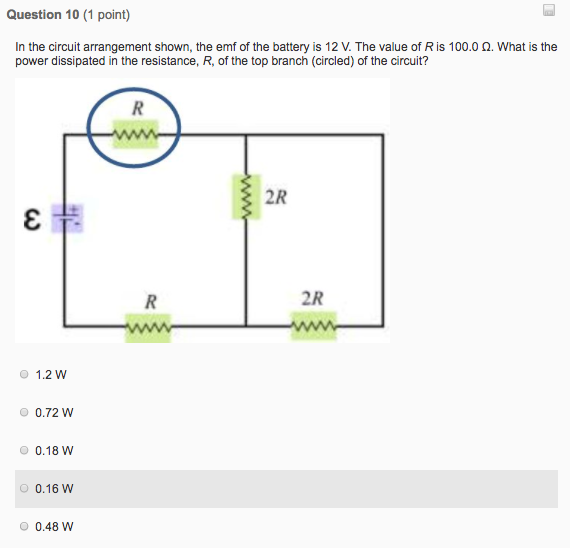 Solved: Question 10 (1 Point) In The Circuit Arrangement S ...