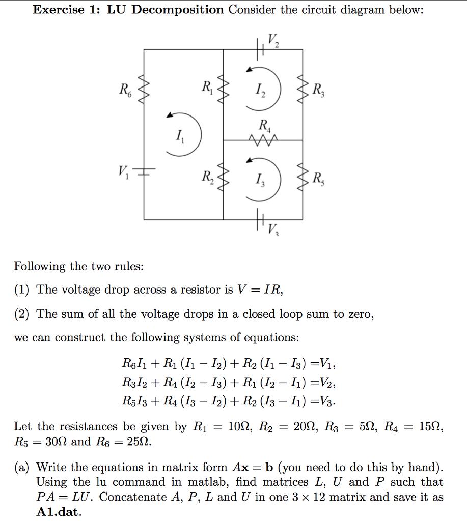 LU Decomposition Consider the circuit diagram belo