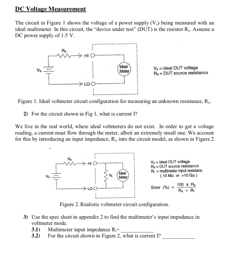 Solved Dc Voltage Measurement The Circuit In Figure 1 Sho Diagram With Voltmeter Shows Of A Power Supply
