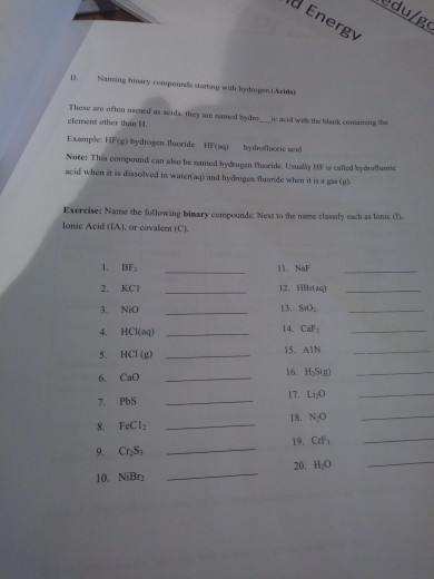Solved Worksheet 6 Nomenclature 2 Covalent Compounds Bin