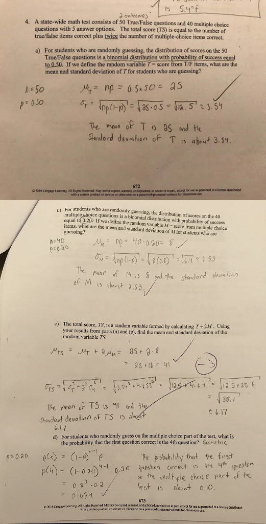 Solved: A State-wide Math Test Consists Of 50 True/False Q