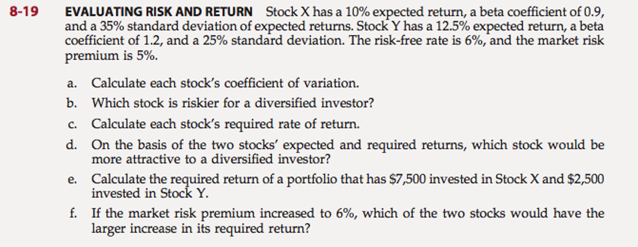 Calculate Standard Deviation Stock X Has A 10% Expected Return, A Beta  Coeffici