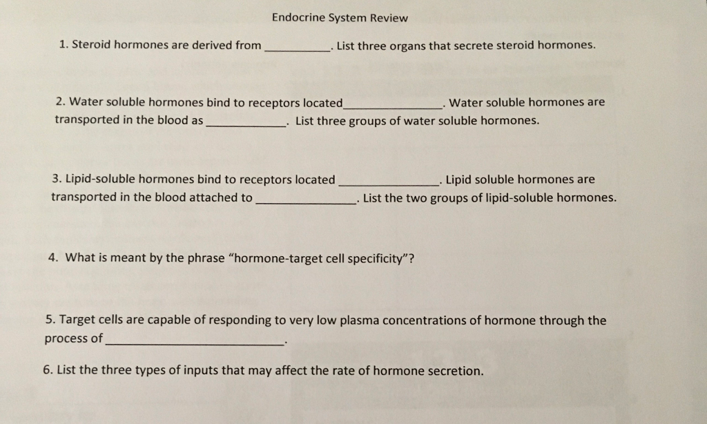 Solved: Endocrine System Review 1. Steroid Hormones Are De ...