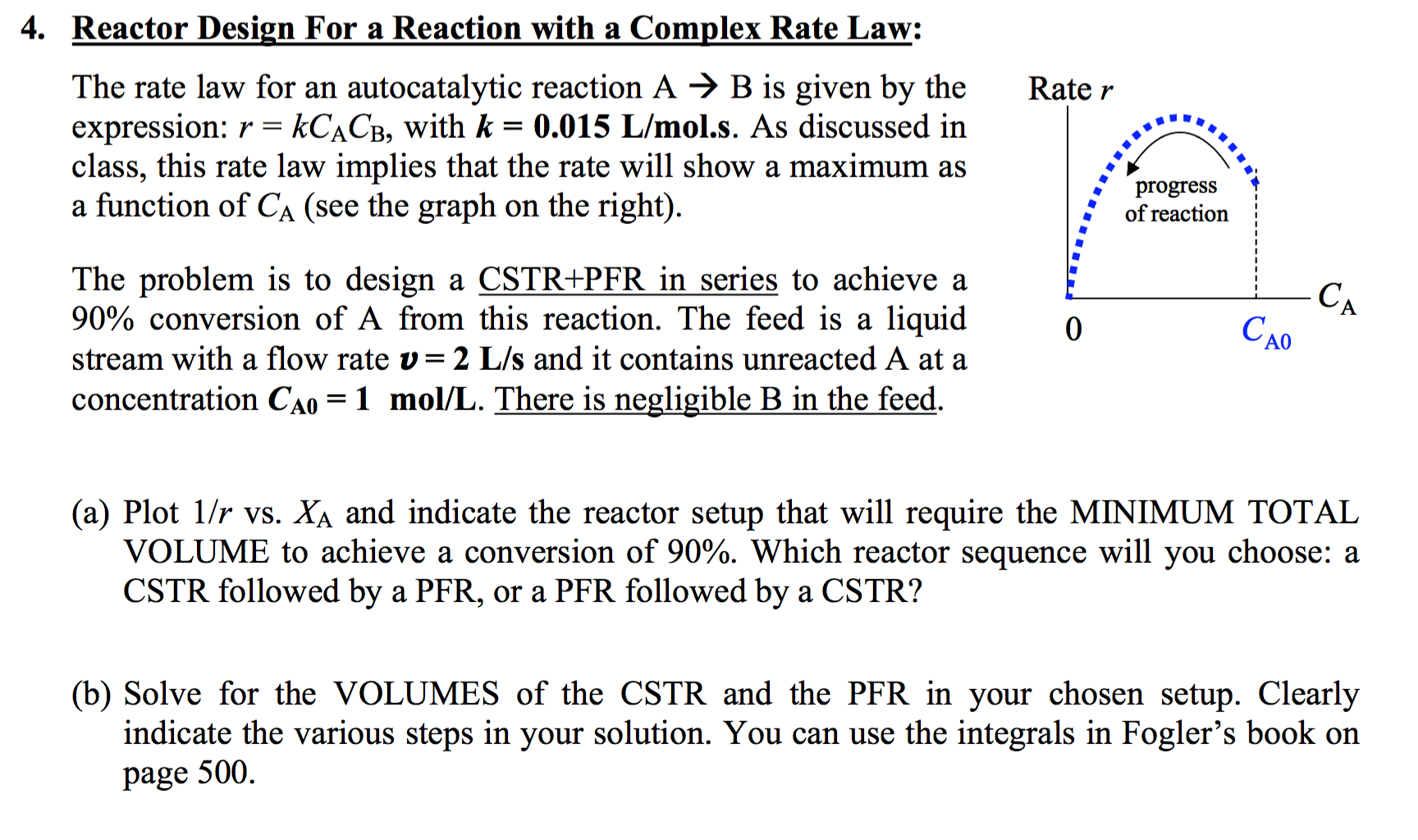 Reactor Design For A Reaction W A Complex Rate La Cheggcom - Cstr reactor design