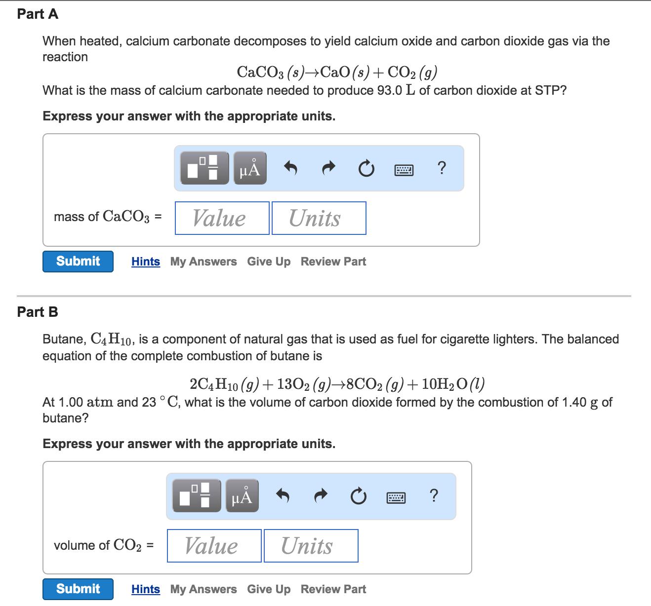 heating calcium carbonate equation