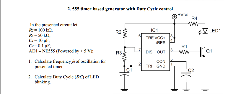 Solved: 555 Timer Based Generator With Duty Cycle Control