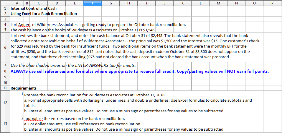 solved aib 1 internal control and cash 2 using excel for