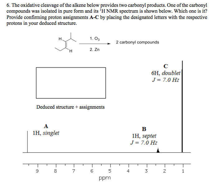 Solved The Oxidative Cleavage Of The Alkene Below Provide