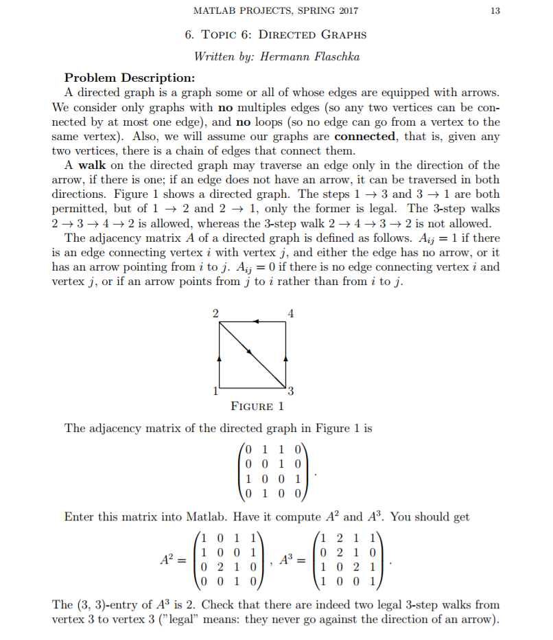 Solved: Linear Algebra Consider The Directed Graph In Figu