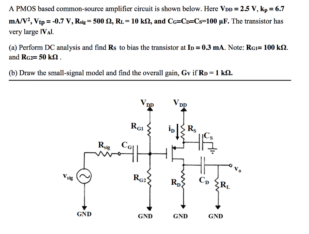 Solved A Pmos Based Common Source Amplifier Circuit Is Sh To Use Nmosfet Instead Of Pmosfet Electrical Engineering Shown Below Here Vdd 25
