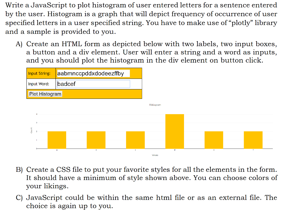 The java script code is provided as the following chegg write a javascript to plot histogram of user entered letters for a sentence entered by the spiritdancerdesigns Images