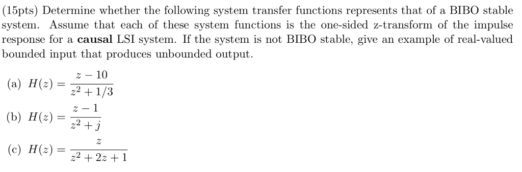 Solved 15pts Determine Whether The Following System Tra