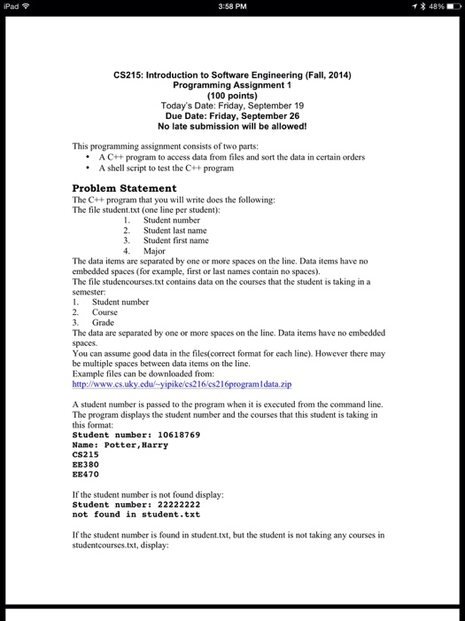 This Is A CS 216 Programming Assignment That I Rea    | Chegg com
