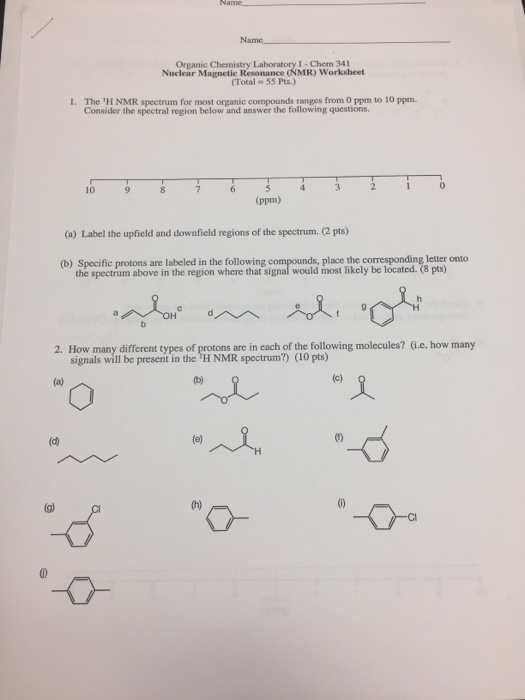 Solved Chem 34 Organic Chemistry Laboratory Nuclear Magn