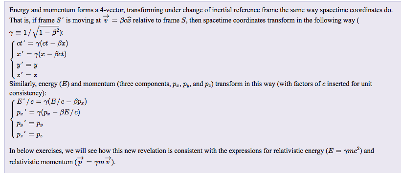 Solved: Energy And Momentum Forms A 4-vector, Transforming ...