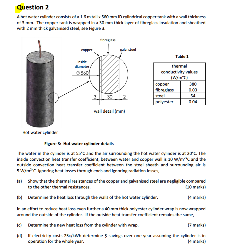 Solved: A Hot Water Cylinder Consists Of A 1.6 M Tall Time ...