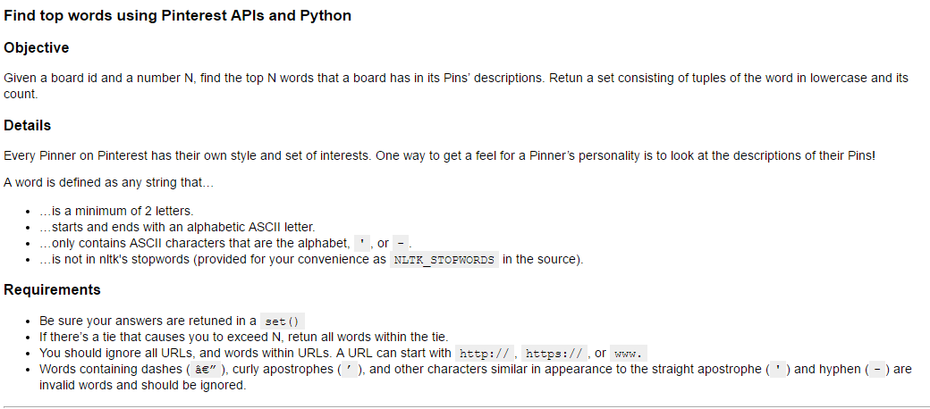 Solved: Find Top Words Using Pinterest APIs And Python Obj