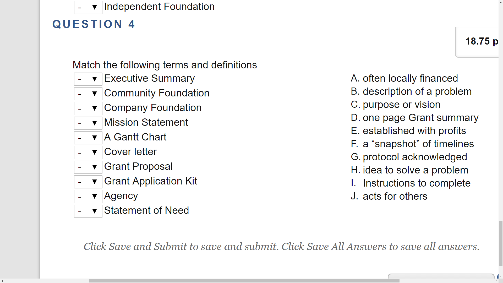 Solved Match The Following Terms And Definitions Executiv