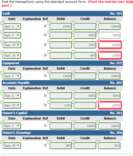 Solved Post The Transactions Using The Standard Account F