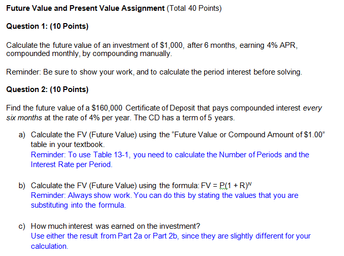 Solved Future Value And Present Value Assignment Total 4
