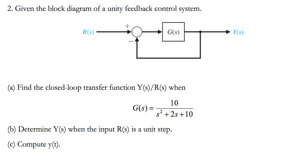 Solved 2 given the block diagram of a unity feedback con given the block diagram of a unity feedback control system rs ccuart Image collections