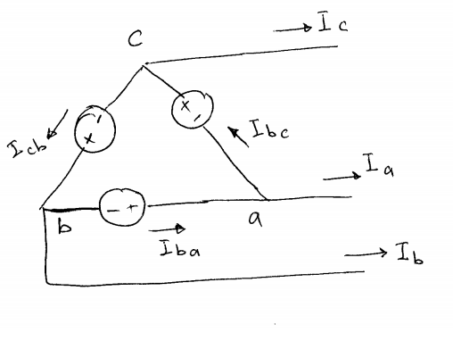 Solved Draw The Vector Diagram For A Three Phase Delta Co Chegg Com