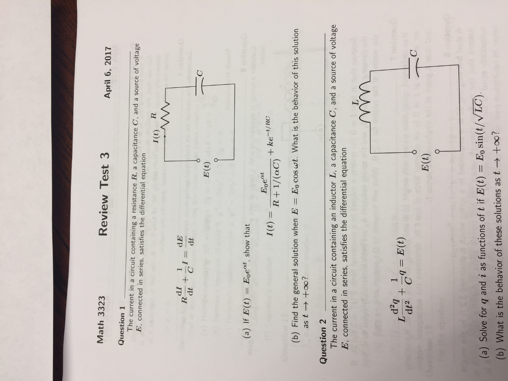 Solved The Current In A Circuit Containing Resistance R Esting For Math 3323 Review Test 3 April 6 2017 Question 1