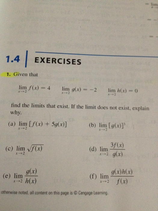 Question: Given that find limits that exist. If the limit d.