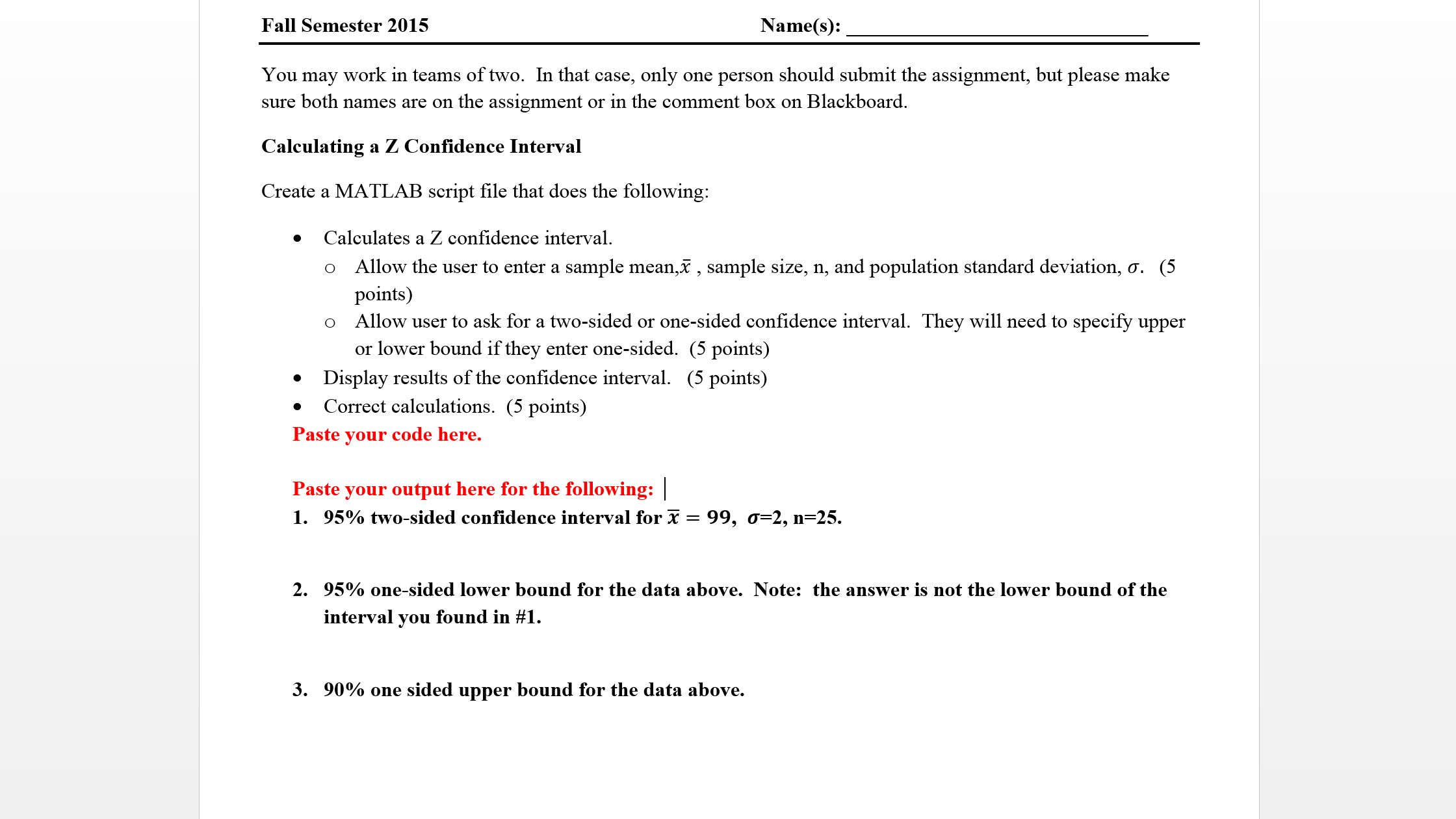 Computing Sample Standard Deviation Using Excel You May Work In Teams Of  Two In That Case, Only O