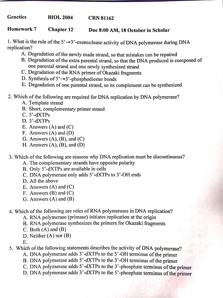 genetics chapter 1 homework