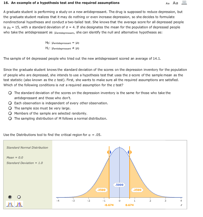 Solved 16 An Example Of A Hypothesis Test And The Requir