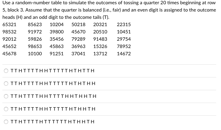 Astounding Solved Use A Random Number Table To Simulate The Outcomes Interior Design Ideas Gresisoteloinfo