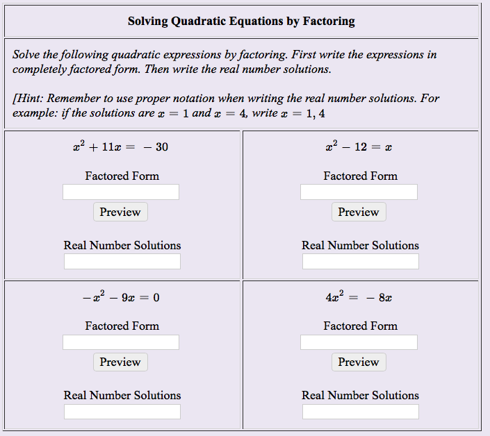 solved solving quadratic equations by factoring solve the