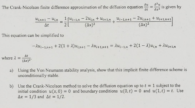 Solved: The Crank-Nicolson Finite Difference Approximation